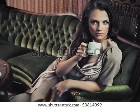 Afternoon coofee in a stylish interior - stock photo