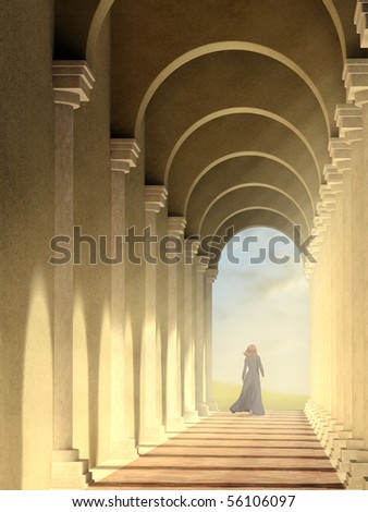 Afternoon light entering an arched pathway. Digital illustration.