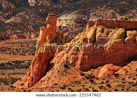 Afternoon light on the colorful sandstone formations at Ghost Ranch, Abiquiu, New Mexico - stock photo