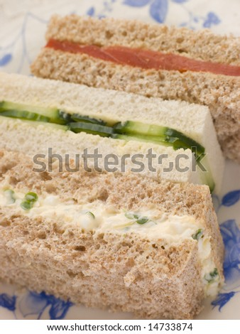Afternoon Tea Finger Sandwiches- Egg and Cress Smoked Salmon and Cucumber