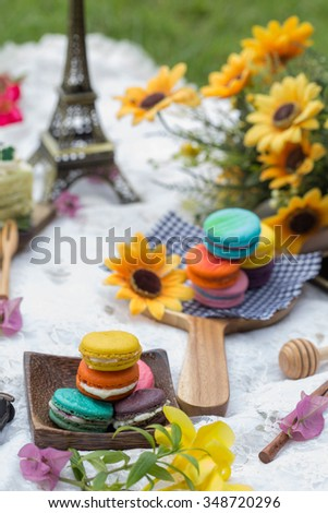 Afternoon tea macarons. - stock photo