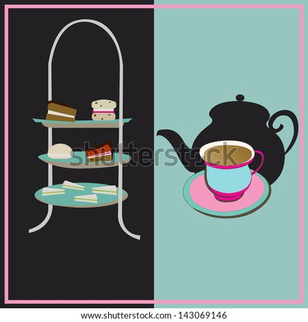 Afternoon Tea, retro background with a cake-stand and a teacup for a vintage tea-party - stock photo