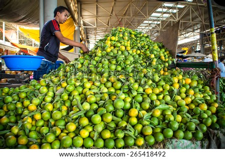AGADIR - SEPTEMBER 10: Market (souk) in a city Agadir in Morocco. The market is one of the most important attractions of the city. September 10, 2014 Agadir, Morocco. - stock photo