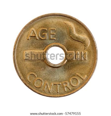 age control coin for cigarette machine - stock photo