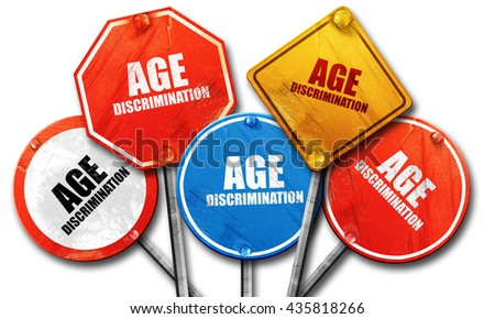 age discrimination, 3D rendering, rough street sign collection - stock photo