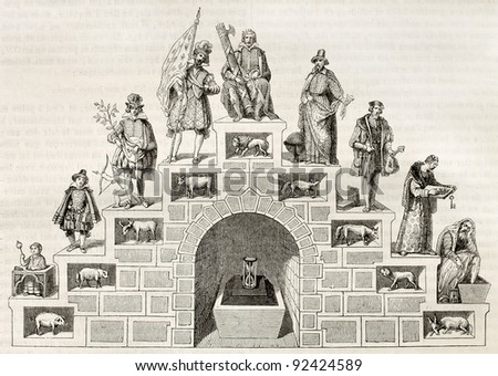 Age double stair symbolic illustration. After antique print of 16th century, published on Magasin Pittoresque, Paris, 1845 - stock photo