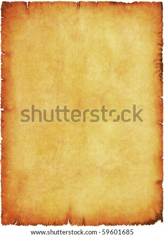 Age stained parchment. Burnt and wrinkled. - stock photo
