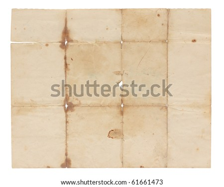 Aged and worn paper with stains, creases, tears and wrinkles. Completely blank with room for text or images. Includes clipping path. - stock photo