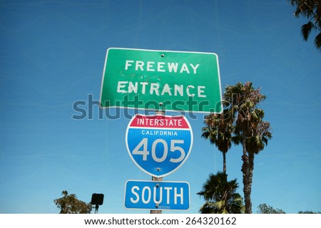 aged and worn vintage photo of california freeway sign                                - stock photo
