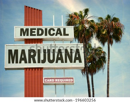aged and worn vintage photo of medical marijuana sign with palm trees - stock photo
