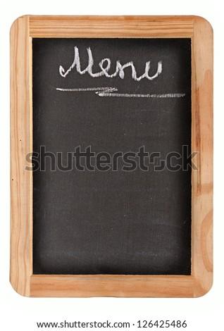 Aged black menu blackboard - stock photo