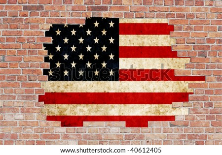 Aged brick wall with flag of USA