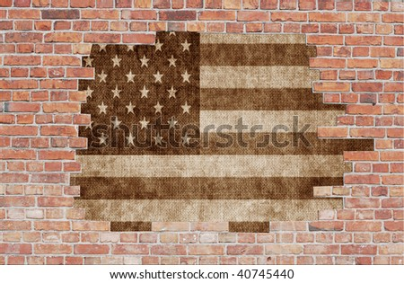 Aged brick wall with USA flag