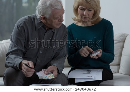 Aged couple looking at calculator - stock photo