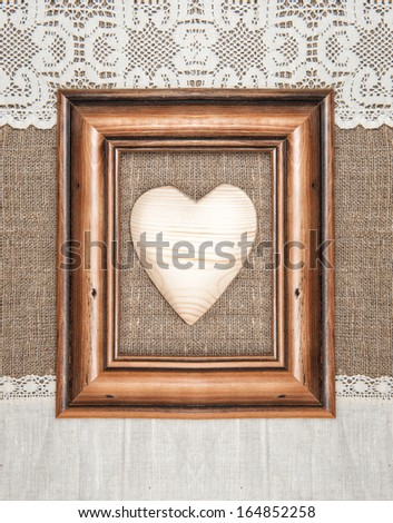 Aged Frame Wooden Heart On Burlap Stock Photo Royalty Free