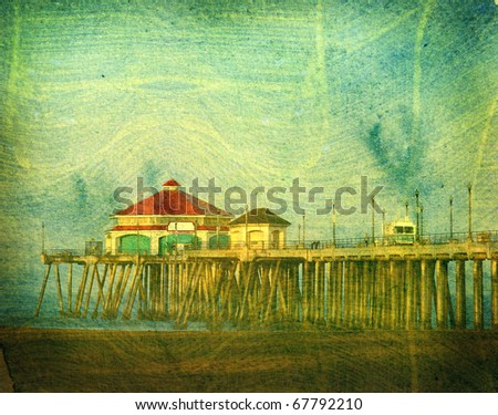 aged grunge photo of beach, pier and ocean - stock photo