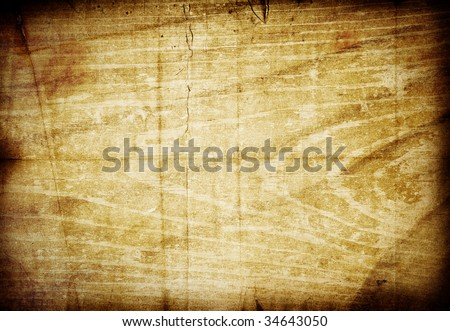 Aged grunge texture mixed background with scratches, stains and dark borders. Beautiful vintage brown vibrant colors - stock photo