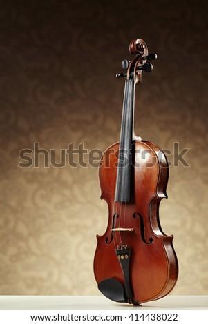 aged handmade violin - stock photo