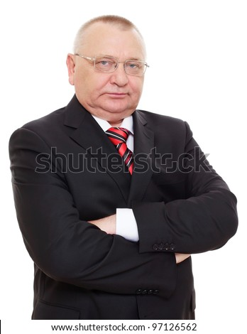 Aged imposing businessman in black suit and red tie with arms crossed on chest. Isolated on white background, mask included - stock photo