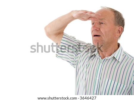 Aged man looks in a distance. White background - stock photo