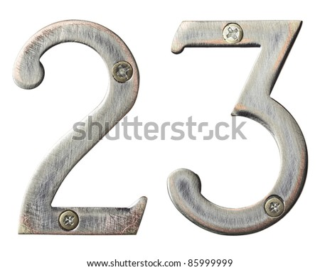 Aged metal numbers with screw heads - stock photo