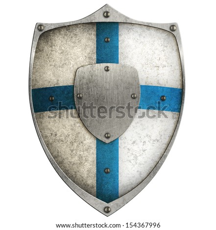aged metal shield isolated on white - stock photo