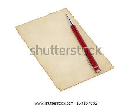 aged paper isolated on white background
