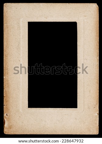 aged paper photo frame isolated on black background
