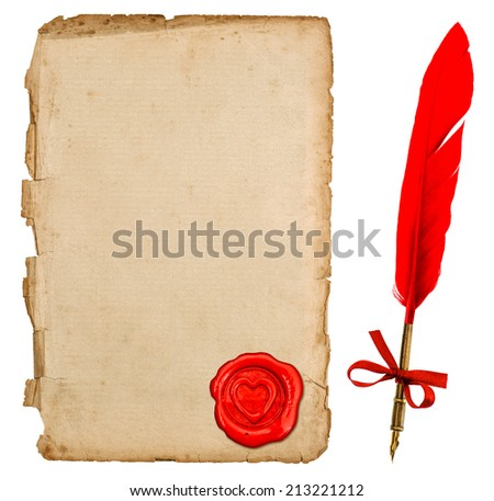 aged paper sheet with red heart seal and vintage feather ink pen isolated on white background. retro handwriting accessories for love letters. Valentines Day concept