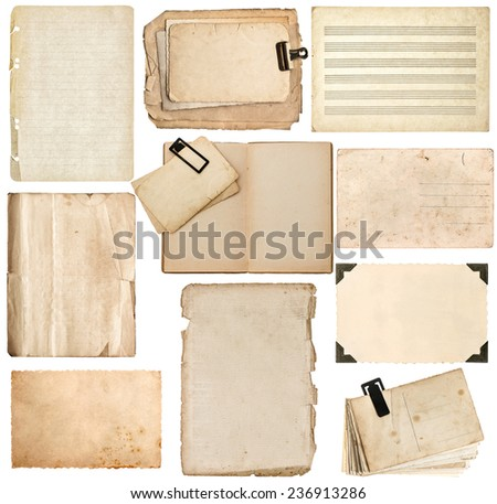 aged paper sheets, book pages, cardboard, photo frame with corner isolated on white background - stock photo