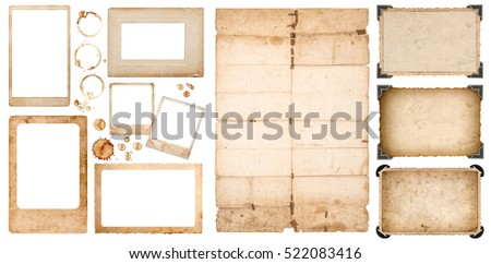 Aged photo frames, used folded paper sheet and coffee stains on white background. Scrapbook elements.