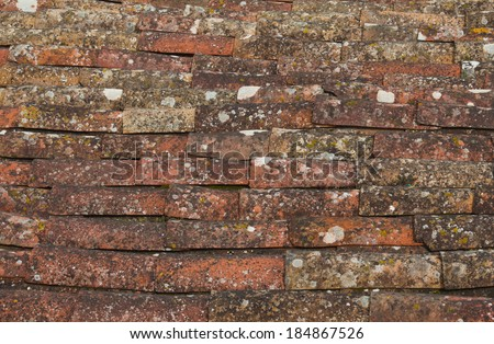 Aged roof tile texture - stock photo