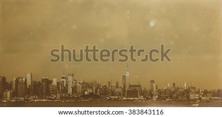 Aged sepia digital grunge distressed effect New York. - stock photo