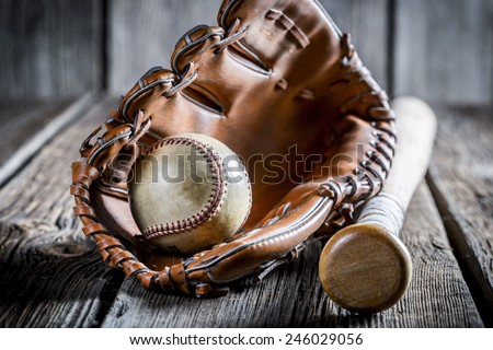 Aged set to play baseball - stock photo