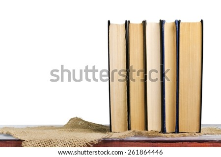 Aged. stack of books - stock photo