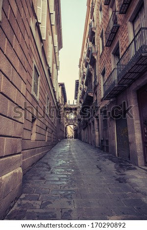 Aged street in Barcelona. Spain. Vintage retro style
