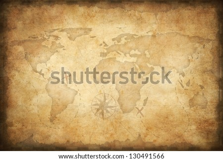 aged treasure map background - stock photo
