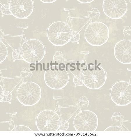 Aged Vintage Bicycles Seamless Pattern. Raster version - stock photo