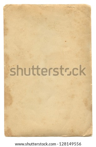 Aged vintage paper isolated on white. - stock photo