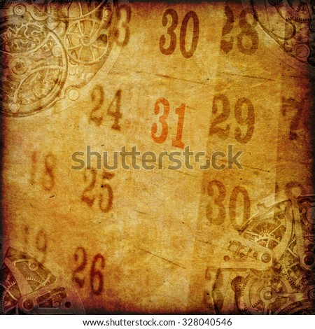 aged vintage paper with clock and calendar, time concept, paper background for your message - stock photo
