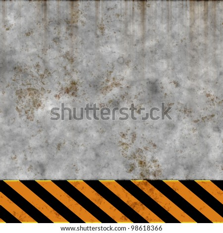 aged wall background with warning stripes