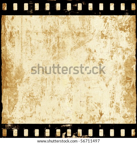 Aged wall texture with film strip - stock photo