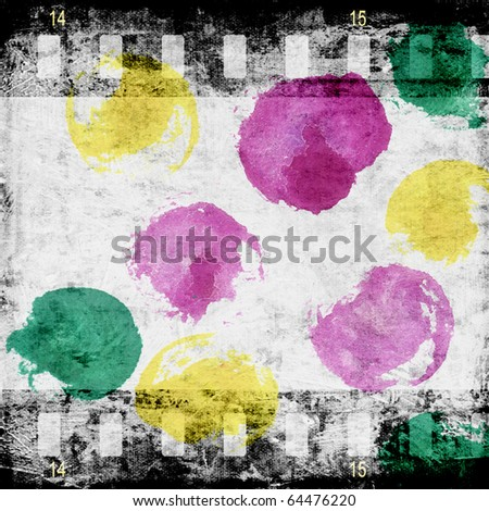 Aged wallpaper with fim strip - stock photo