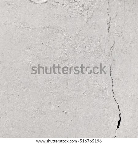 Aged White Peeled Plaster Wall With Cracked Structure Frame Blank Grunge Background. Dark Brick Mortar Wall With Shabby Stucco Layer Isolated Square Texture. Renovation Concept. Blank Wreck Surface