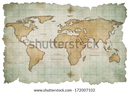 aged world map isolated on white - stock photo