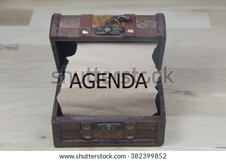 agenda is written on the Brown torn paper in the treasure box. news