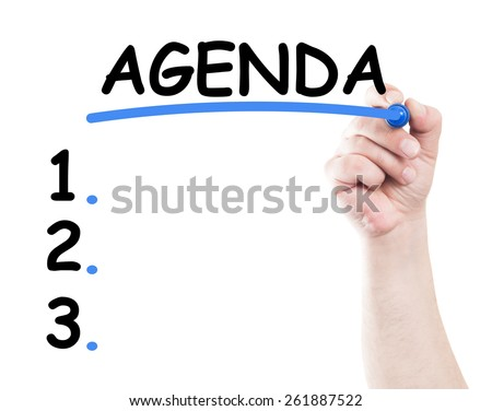 Agenda list concept made by a human hand holding a marker on transparent wipe board - stock photo