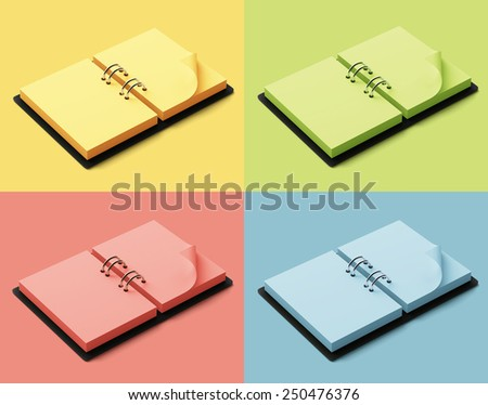 Agenda with colorful pages isolated on colorful background