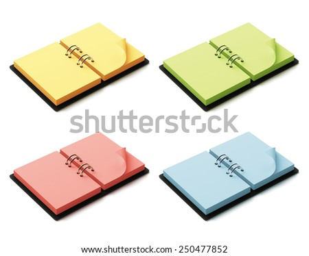 Agenda with colorful pages isolated on white background