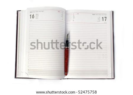 Agenda with fountain  pen - stock photo